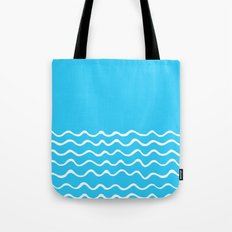 Simple aqua and white handrawn waves 1 - for your summer on #Society6 Tote Bag