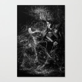 Little Loki and The Jellyfish 1 (B/W) Canvas Print