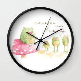 Enthusiastic choir of babyfrogs Wall Clock