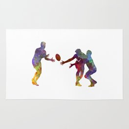 Rugby men players 02 in watercolor Rug