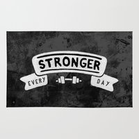 crossfit Area & Throw Rugs featuring Stronger Every Day (dumbbell, black & white) by Lionheart Art