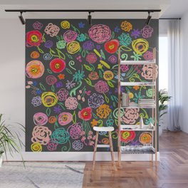 Floral Doodle in Bright Multicolor on Charcoal Background Wall Mural