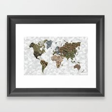 CAMO WORLD ATLAS MAP (white) Framed Art Print