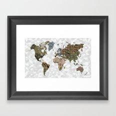 CAMO WORLD ATLAS MAP (WHITE) Framed Art Print