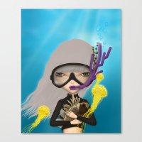 scuba Canvas Prints featuring scuba by Anne  Martwijit