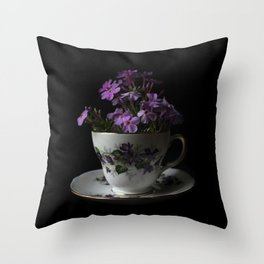 Botanical Tea Cup Throw Pillow