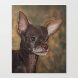 Chocolate Chihuahua Painting Portrait Canvas Print
