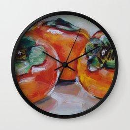 Food, fruit, persimmon, sweet, taste Wall Clock