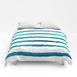Watercolor Waves Blue Stripe Comforters