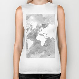Design 49 Grayscale World Map Biker Tank