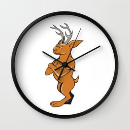 Jackalope Arms Crossed Standing Cartoon Wall Clock