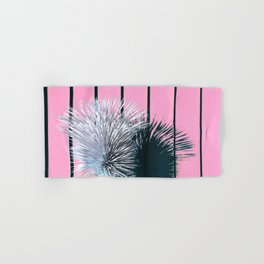 Yucca Plant in Front of Striped Pink Wall Hand & Bath Towel