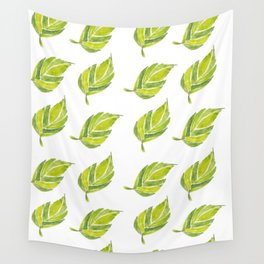 Green Leaf Water Color Wall Tapestry