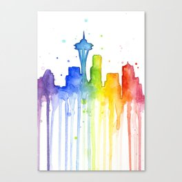 Seattle Skyline Rainbow Watercolor Canvas Print