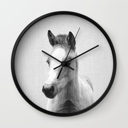 Baby Horse - Black & White Wall Clock