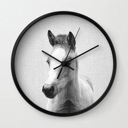Baby Horse - Black & White Wall Clock