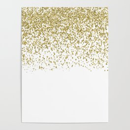 Sparkling gold glitter confetti on simple white background - Pattern Poster
