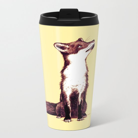 Brown Fox Looks at Thing Metal Travel Mug