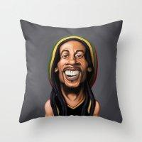 marley Throw Pillows featuring Celebrity Sunday - Robert Nesta Marley by rob art | illustration