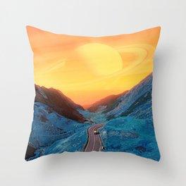 Blue Mountain with Yellow Sky Throw Pillow