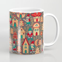 Fairy gnomes and magic houses.  Christmas trees, months and stars. Pattern in folk style. Coffee Mug