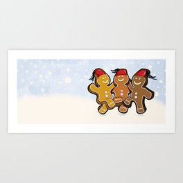 Dancing Gingerbread Men Art Print