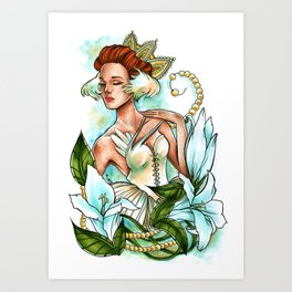 White Swan Ballerina. Art Print
