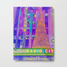 Radio City Music Hall with Holiday Tree, New York City, New York Metal Print
