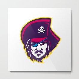 Privateer Pirate Head Mascot Metal Print
