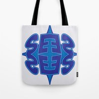 typo Tote Bags featuring Abstract Typo by Ákos Kőrös