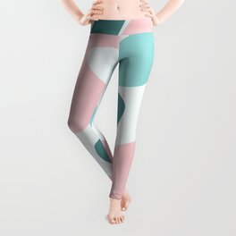 Retro Mint Green and Pink Blobs Over Pale Grey - Abstract Shapes - Funky Art - Matisse Leggings