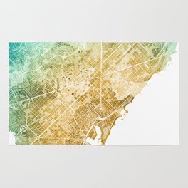 Barcelona Watercolor Map #1 Rug