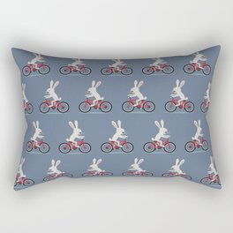 Bunny riding bike Rectangular Pillow