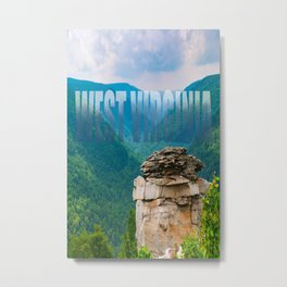 West Virginia Mountains Landscape Text Print Metal Print