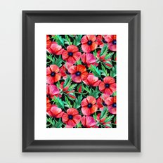 Plenty of Poppies - black Framed Art Print