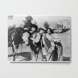 Three Stooges kissing a horse poster Metal Print