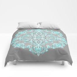 Teal and Aqua Lace Mandala on Grey Comforters