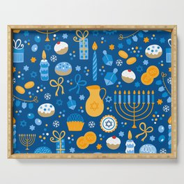 Hanukkah Happy Holidays Pattern Serving Tray