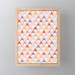 Hand drawn bold triangle shapes seamless pattern. Framed Mini Art Print