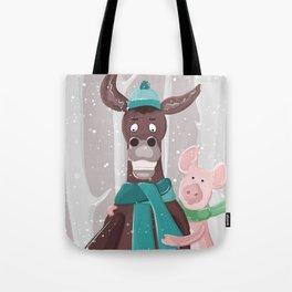 donkey and pig Tote Bag