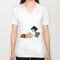 charlie brown V-neck T-shirts featuring Charlie Brown by Lucas de Souza