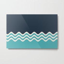 Aqua, Alabaster and Navy Blue Wavy Horizontal Stripes Line Minimal Pattern - Aquarium SW 6767 Metal Print