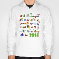 world cup Hoodies featuring WORLD CUP KITTEHS 2014 by Helenasia