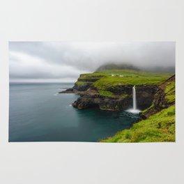 Gásadalur waterfall in Faroe islands Rug