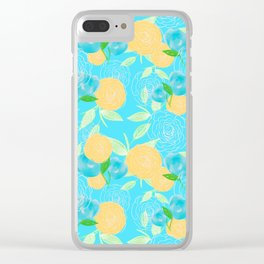 06 Yellow Blooms on Blue Clear iPhone Case