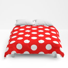 Red - White Polka Dots - Pois Pattern Comforters