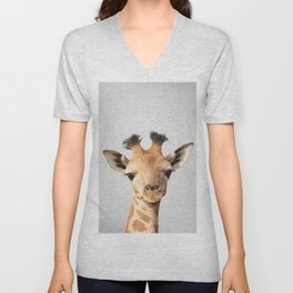 Baby Giraffe - Colorful Unisex V-Neck