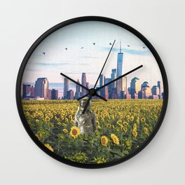 Astronaut in the Field-New York City Skyline Wall Clock