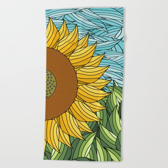 SUNNY DAY (abstract flowers) Beach Towel