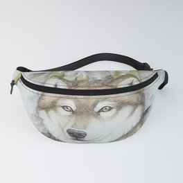 Timber Wolf in Aspen Trees Watercolor Fanny Pack
